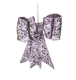 Mark Roberts Christmas Decorations Silver Glittered Bow LG 13 Inch