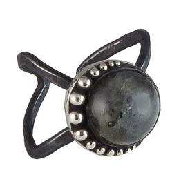 Waxing Poetic® Jewelry Nightaire Ring Size 8-9-Sterling Silver-Labradorite