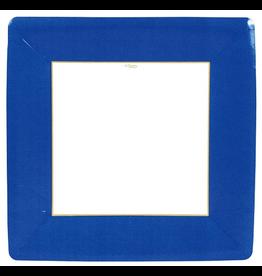 Caspari Paper Dinner Plates Square Grosgrain Border Marine Blue