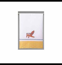 Peking Handicraft Linen Cotton Hand Guest Towel w Orange Beach Chair