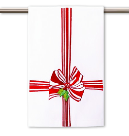 Peking Handicraft Christmas Hand-Guest Towel Red Ribbon Bow 16x25