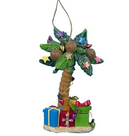 Kurt Adler Palm Tree Ornament W Presents 4.25 Inch -A Dark Green Leaves