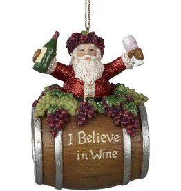 Kurt Adler Santa On Barrel Ornament With I Believe In Wine 4 Inch
