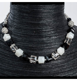 Jacqueline Kent Jewelry Crystal Cube 3 In 1 Necklace Braclet Anklet Black White