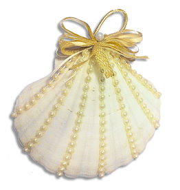 Treasures From The Sea Pearled Scallop Shell Ornament TFTS-P27