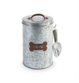Mud Pie Metal Dog Food Tin Canister Set W Dog Chow Scoop N Lid