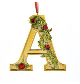 Kurt Adler Gold Initial Ornament With Holly Accents 3.5 Inch Letter A