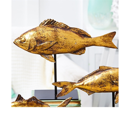 Distressed Gold Fish Sculpture On Black Stand 13x10