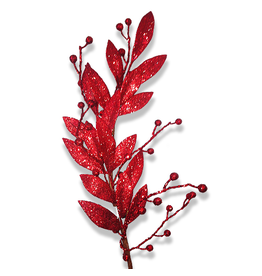 Premier Christmas Flowers Floral Red Glittered Berry Leaf Branch 30L