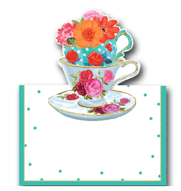 Caspari Table Place Cards Tent Style Tea Cups 8pk