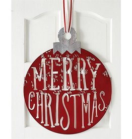 Mud Pie Metal Merry Christmas Ornament Shaped Door Hanger 29x24