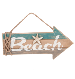 Midwest-CBK Wood Arrow Shaped Sign w Beach and Starfish 12x5in