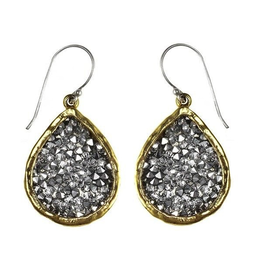 Waxing Poetic® Jewelry Kristal Teardrop Earrings Brass-Silver-Swarovski