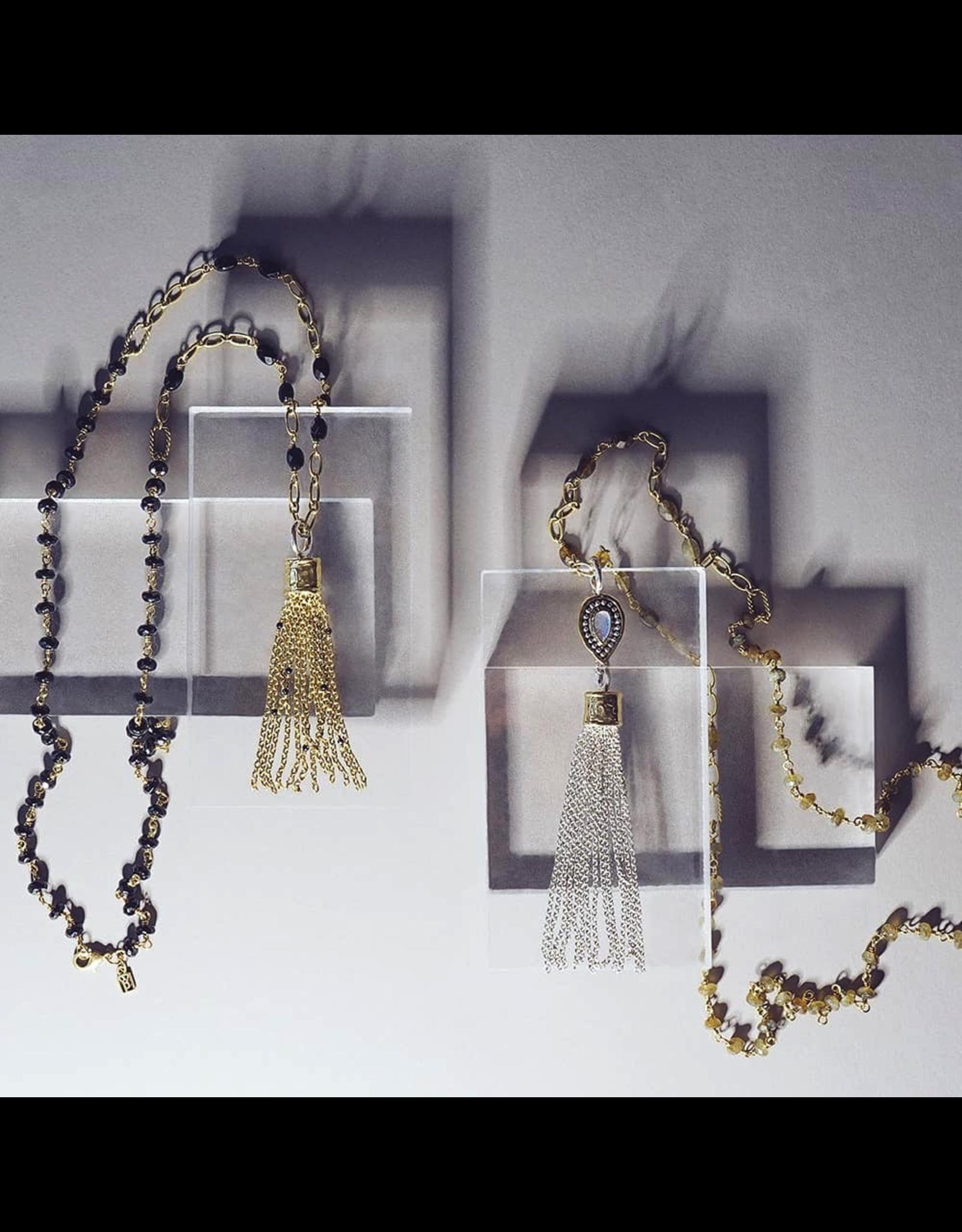 Waxing Poetic® Jewelry Amity Tassel Sterling Silver-Brass-Labradorite