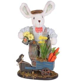 Karen Didion Spring Easter Bunny Cart Collectible Figure 22 inch