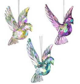 Kurt Adler Iridescent Doves Acrylic Ornament Set Of 3