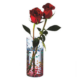 Midwest-CBK Rainbow Confetti Heart Vase 7H Glass Vase w Multi Color Hearts