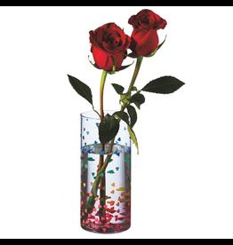 Midwest-CBK Rainbow Confetti Heart Vase 7H Glass Vase w Multi Color Hearts