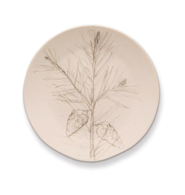 Rosy Rings Ceramic Botanical Candle Plate Round With Pine Branch