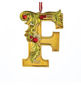 Kurt Adler Gold Initial Ornament With Holly Accents 3.5 Inch Letter F