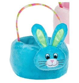Midwest-CBK Plush Easter Bunny Basket with Handle 8x10x5H inches - Blue