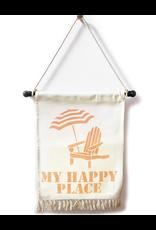 MFH Banner W Tassel Fringe 20x30 w My Happy Place