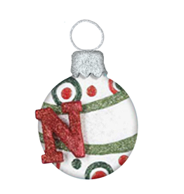 Kurt Adler Mulit Color Glitter Ball Ornament w Letter Initial N