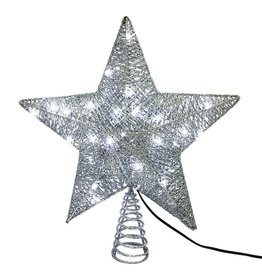 Kurt Adler Silver Star Christmas Tree Topper 10 Inch W 45 LED Lights
