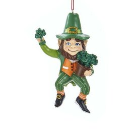 Kurt Adler Irish Leprechaun Gnome Ornament Holding Pot of Shamrocks