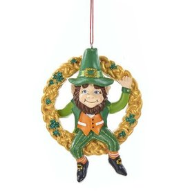 Kurt Adler Irish Leprechaun Gnome Ornament Sitting In Gold Wreath W Shamrocks