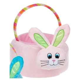 Midwest-CBK Plush Easter Bunny Basket with Handle 8x10x5H inches - Pink