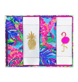 Lilly Pulitzer® Embroidered Cotton Cocktail Napkins Set 4 Exotic Garden
