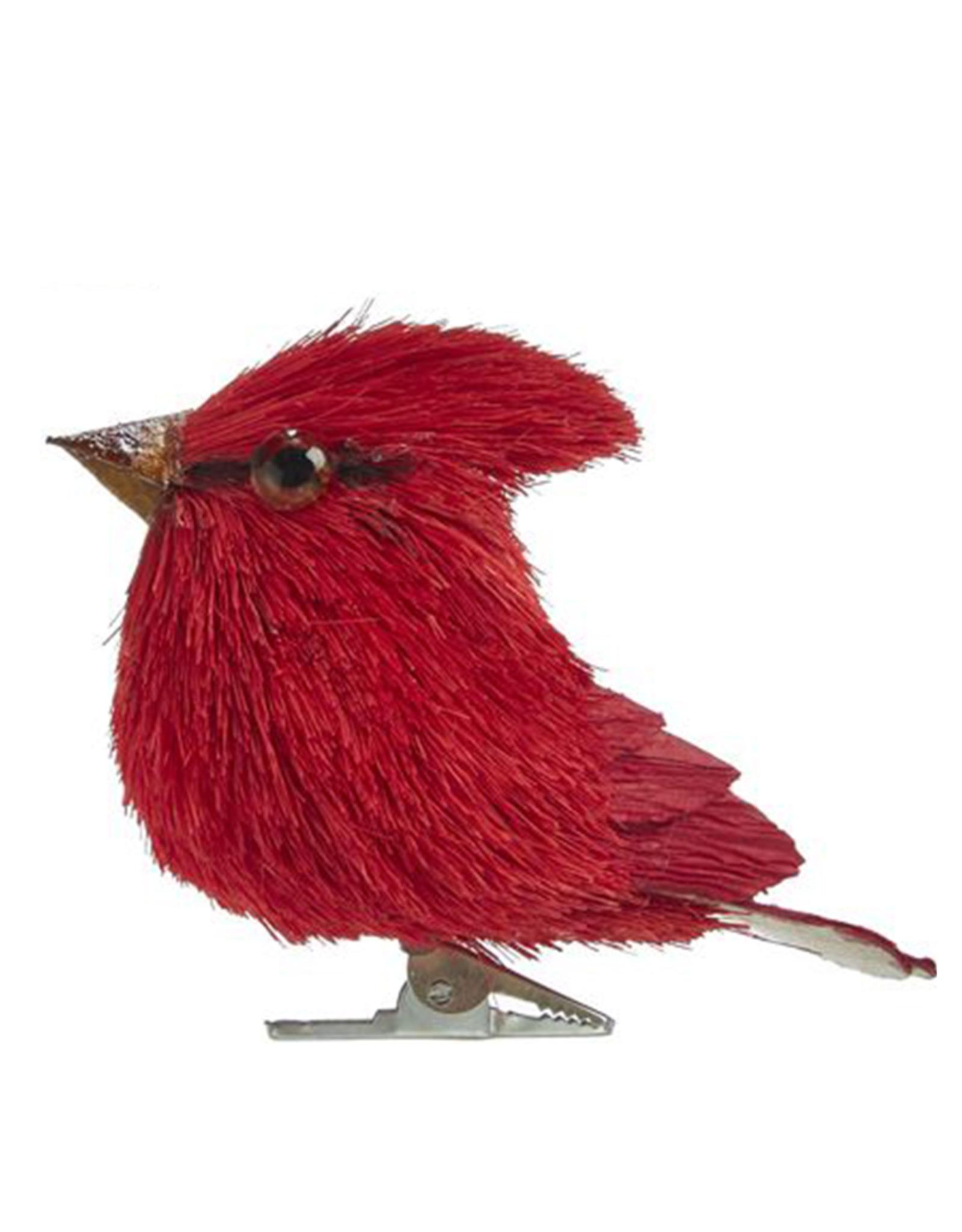 Kurt Adler Red Cardinal Sisal Bird With Clip Ornament 3 Inch Center Digs N Gifts