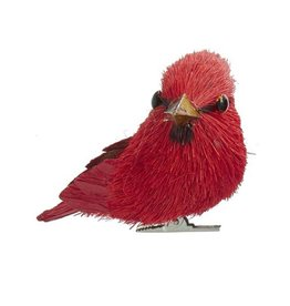 Kurt Adler Red Cardinal Sisal Bird With Clip Ornament 3 Inch LEFT