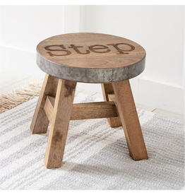 Mud Pie Wood and Tin Step Stool 10x10 Dia SALE ITEM Floor Display