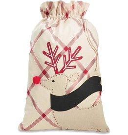 Mud Pie Christmas Gift Sack LG 32x22 Personalizable W Reindeer