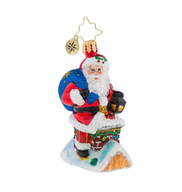Christopher Radko Christmas Ornament Little Gem Chimney Climber Santa
