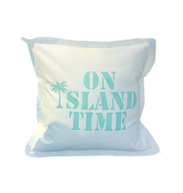 MFH Cotton Pillow 20x20 w on Island Time -White w Oasis