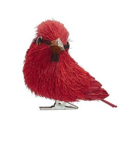 Kurt Adler Red Cardinal Sisal Bird With Clip Ornament 3 Inch RIGHT