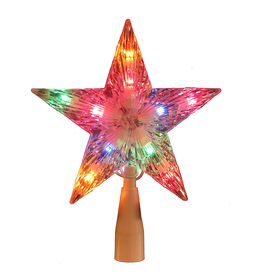 Kurt Adler Christmas Star Tree Topper Clear w Multi Color Lights 7inch