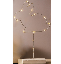 Twos Company LED Lighted Wire Bunny Statue White Twos Company