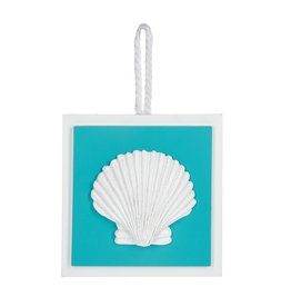 Midwest-CBK Decorative Square Wall Plaque on Rope Hanger Scallop