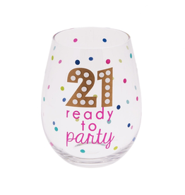 Midwest-CBK Birthday Stemless Wine Glass 20oz w 21 Ready To Party
