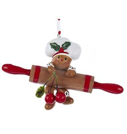 Kurt Adler Gingerbread Chef Boy Utensil Ornament Climbing Rolling Pin