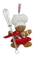 Kurt Adler Gingerbread Chef Girl Utensil Ornament Holding Whisk