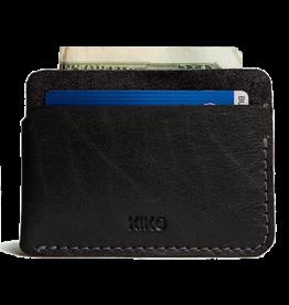 Tripple Pocket Card Case Leather In Black