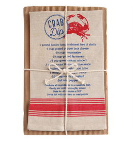 Mud Pie Crab Chambray Towel 26x16.5 w Crab Dip Recipe