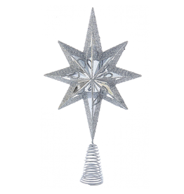 Kurt Adler Christmas Star Burst Tree Topper 6.75 Inch SILVER