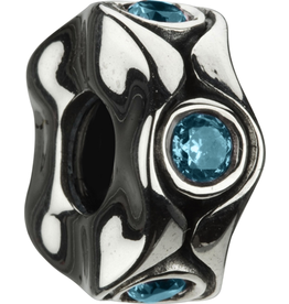 Chamilia Cat Eyes Aquamarine Silver Bead w CZ JB-12B