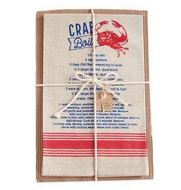 Mud Pie Crab Chambray Towel 26x16.5 w Crab Boil Recipe